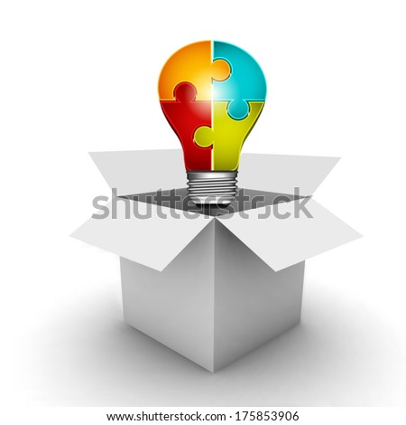 Business concept with bulb and box.