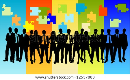 business concept with business people vector silhouttes and vector puzzle shapes
