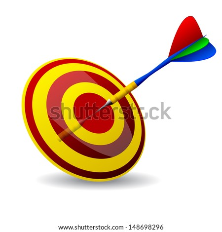 Business concept with 3d darts in bullseye. Dart Hitting A Target, Isolated On White Background  - stock vector