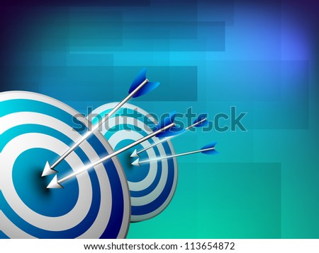 Business concept with dart hitting target. EPS 10. - stock vector