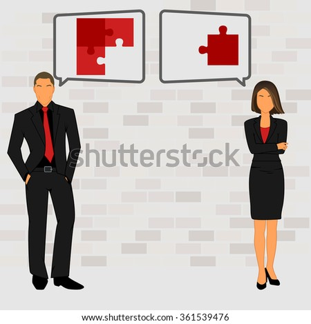 Business concept with man and woman - stock vector