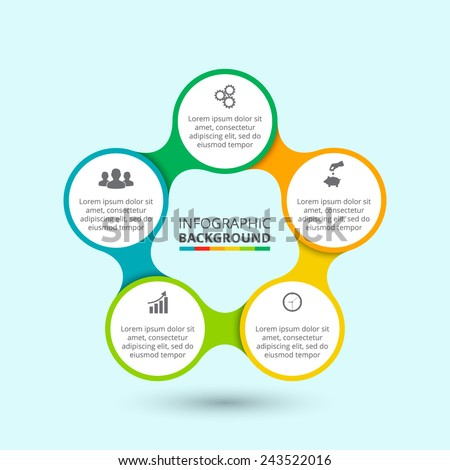 Business concept with 5 options, parts, steps or processes. Template for diagram, graph, presentation and chart. - stock vector