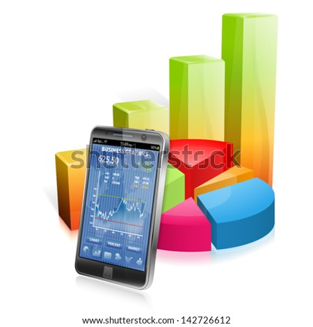 Business Concept with Smartphone and 3D Graphs, vector isolated on white background - stock vector