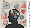 business concepts. the concept of human intelligence. Head and Brain gears in progress. - stock photo
