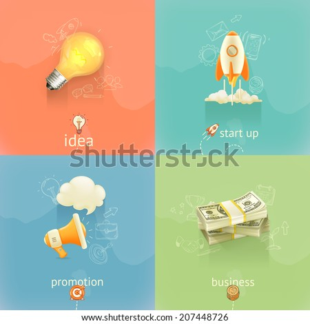 Business concepts, vector set - stock vector
