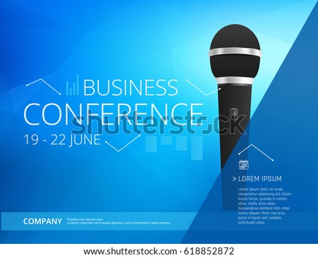 business conference poster design template microphone stock vector