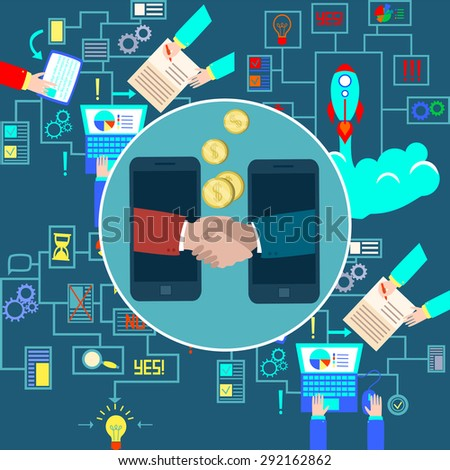 Business connection and relations. Handshake, business icons in flat, e-business, apps banner, phone illustration. Vector flat illustration - stock vector