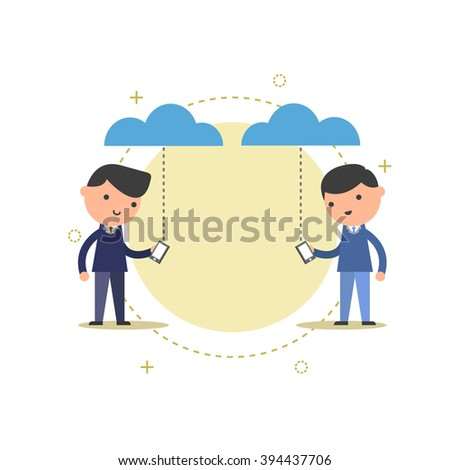 business connection on cloud. - stock vector