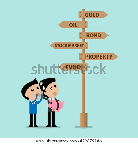 business consultant advise young investor for several choice of invest - stock vector