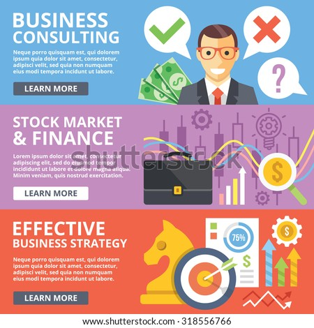 Business consulting, stock market, finance, business strategy flat illustration concept set. Modern flat design concepts for web banners, web sites, printed materials, infographic. Vector illustration - stock vector