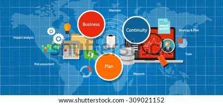 business continuity plan management strategy assesment bcp - stock vector