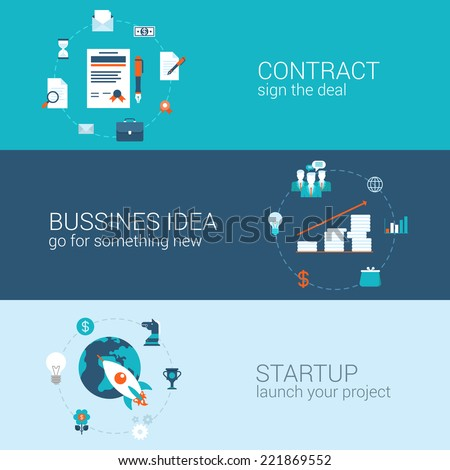 Business contract idea startup concept flat icons banners template set sign deal start-up launch project vector web illustration website click infographics elements - stock vector