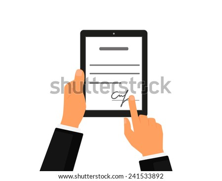 Business contract with signature on tablet pc. Flat vector icon - stock vector