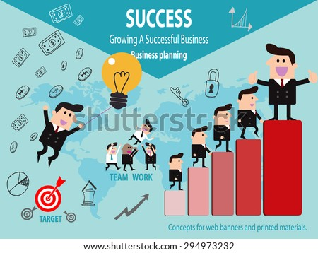 Business Corporate Success Concept, Successful businessman - stock vector