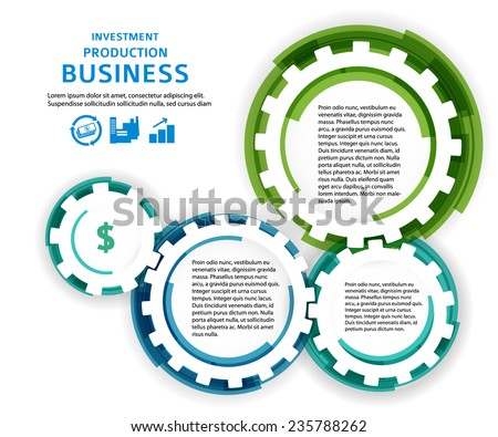 Business corporate template vector illustration EPS 10. Abstract background for chart process service your company / for stages new business: investment, implementation, manufacturing, financial risk - stock vector