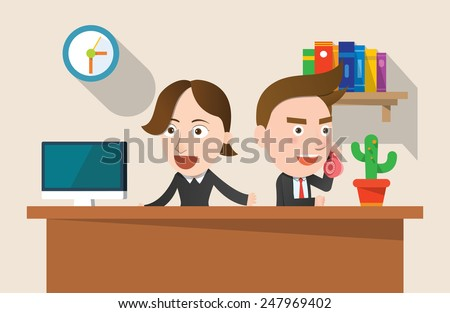 Business corporation telemarketing concept flat character - stock vector