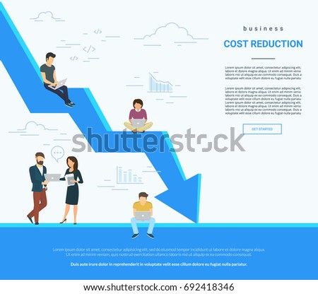 Business cost reduction concept vector illustration of professional people working together as team and sitting on arrow. Flat people with laptops developing and reducing risks and price. White poster