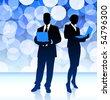Business Couple on Blue Lens Flare Background Original Illustration - stock vector