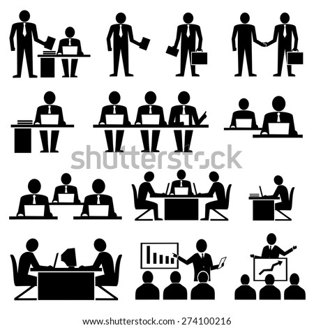 Business coworkers talking and working vector icons - stock vector