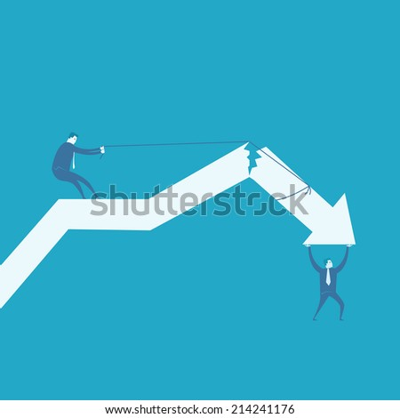 Business crack graph  - stock vector