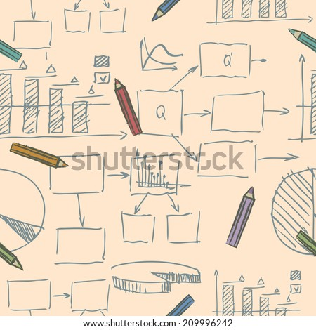 Business creative doodle sketch vector seamless pattern with graphs and charts showing a decreasing trend and flow charts with text boxes with scattered pencils in square format - stock vector