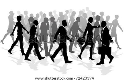Business crowd of people walking in a rush between meetings. - stock vector