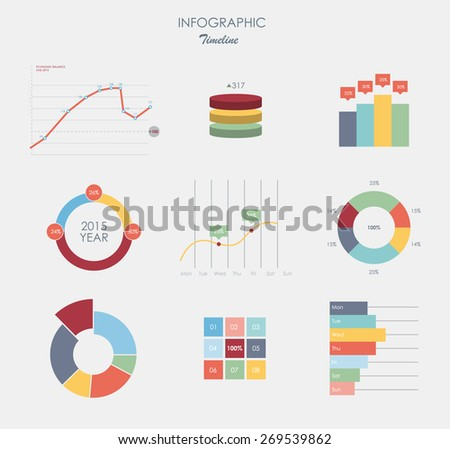Business data market elements dot bar pie charts diagrams and graphs flat design.  set business elements isolated vector illustration. - stock vector