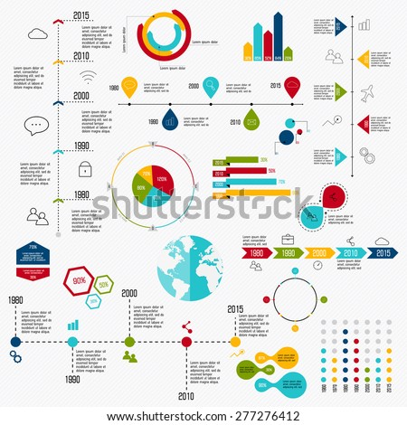 Business data market elements dot bar pie charts diagrams and graphs flat icons set.  - stock vector