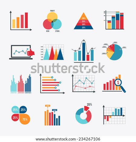 Business data market elements dot bar pie charts diagrams and graphs flat icons set isolated vector illustration. - stock vector