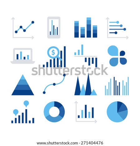 Business data market elements dot bar pie charts diagrams and graphs flat icons set isolated vector illustration - stock vector