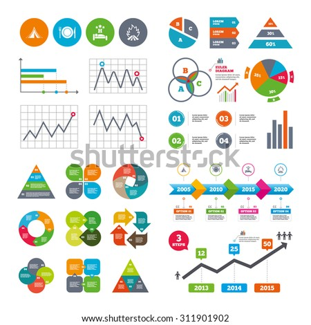 Business data pie charts graphs. Food, sleep, camping tent and fire icons. Knife, fork and dish. Hotel or bed and breakfast. Road signs. Market report presentation. Vector - stock vector