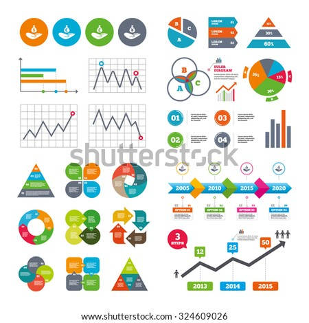 Business data pie charts graphs. Helping hands icons. Money insurance symbols. Hand holds cash bag in Dollars, Euro, Pounds and Yen signs. Market report presentation. Vector - stock vector