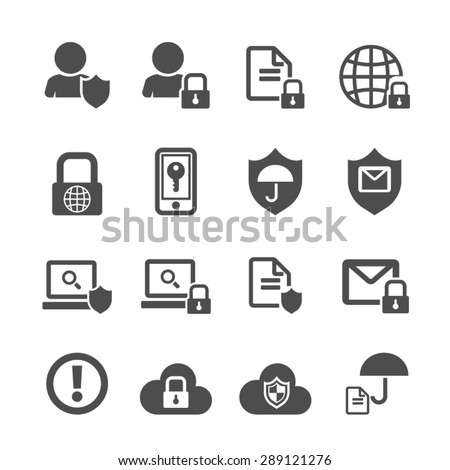 Business data protection technology icons set,Vector - stock vector