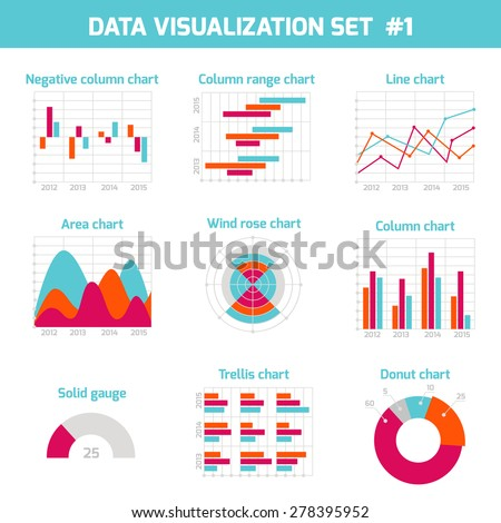 Business data visualization set, market elements, charts, diagrams and graphs template, flat icons set isolated vector illustration. - stock vector
