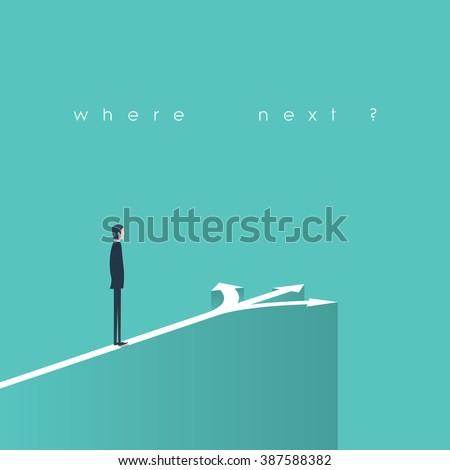 Business decision concept illustration. Businessman standing in front of arrows as symbol for choice, career path or opportunities. Eps10 vector illustration. - stock vector