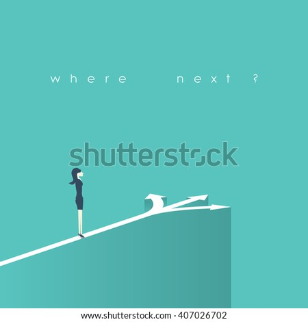 Business decision concept vector illustration. Businesswoman standing on the crossroads with three arrows and directions. Eps10 vector illustration. - stock vector