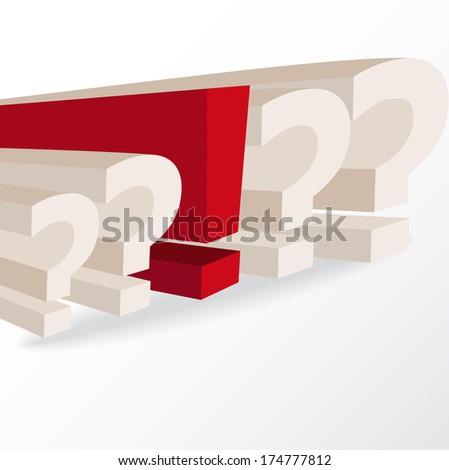 business decision, conceptual illustration with question marks and exclamation mark, vector format - stock vector