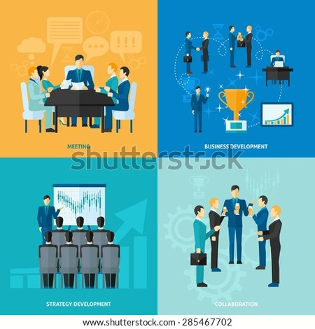 Business design concept set with meeting strategy development and collaboration flat icons isolated vector illustration - stock vector