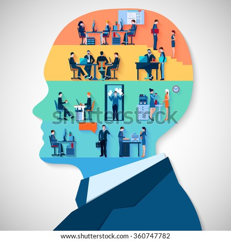Business design concept with businessman head profile and employees icons collection in office interior flat vector illustration   - stock vector