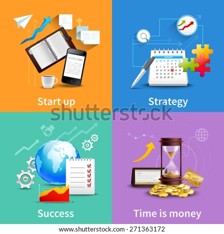 Business design concepts set with start up strategy success time is money realistic icons isolated vector illustration - stock vector
