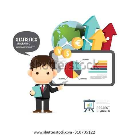 Business design conference man infographic presentation, training, success. vector illustration - stock vector