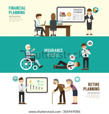 Business design planning concept people set presentation, training, meeting, success, retire, insurance. with flat icons. vector illustration - stock vector