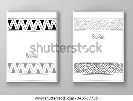 Business design templates. Brochure with Hand Drawn Doodle Border. Doodle Abstract Vintage. Art Vector Illustration. - stock vector