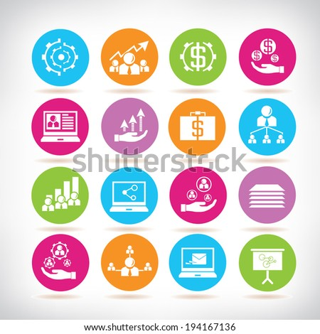 business development icons, business management icons set - stock vector