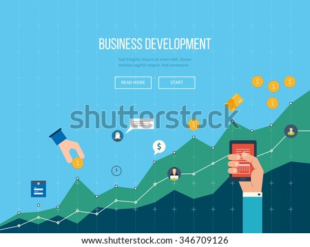 Business development. Strategy of successful business development. Financial report and strategy. Business diagram graph chart. Investment growth. Investment business.  - stock vector