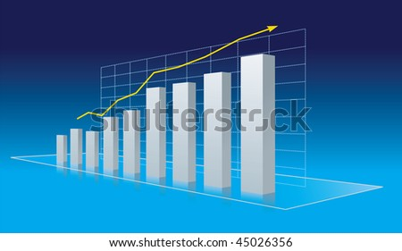 Business diagram - progress, growth trend. Vector Illustration - stock vector