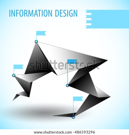 Business diagram template with blue flags on light background with shadow flat vector illustration