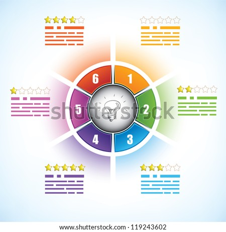 Business diagram template with six parts, doodled light bulb and a star rating system - stock vector