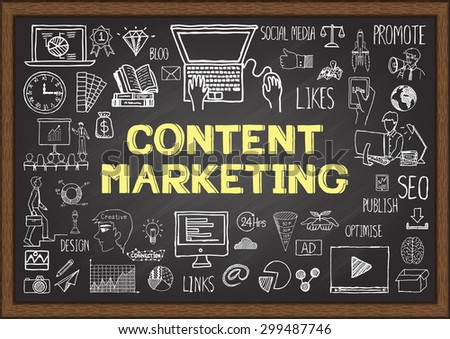 Business doodles about content marketing on chalkboard. - stock vector