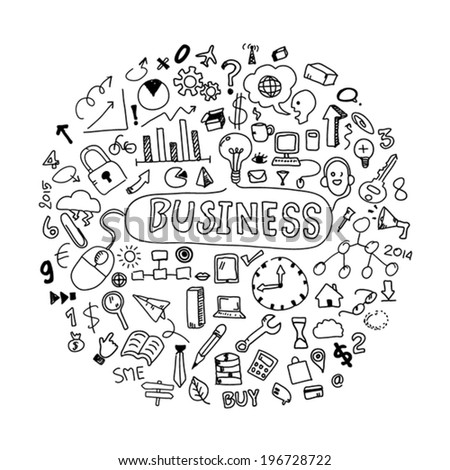 Business doodles concept - stock vector
